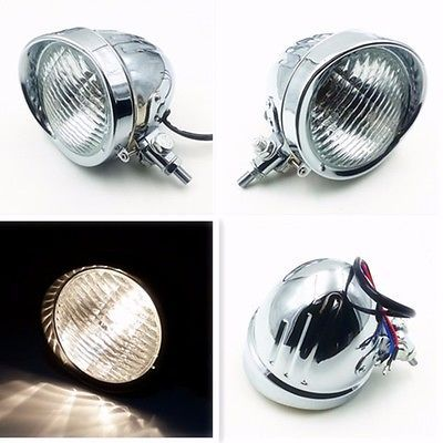 Chrome Motorcycle High Low Beam Head Light Headlight Lamp For Harley Dyna Softail XL