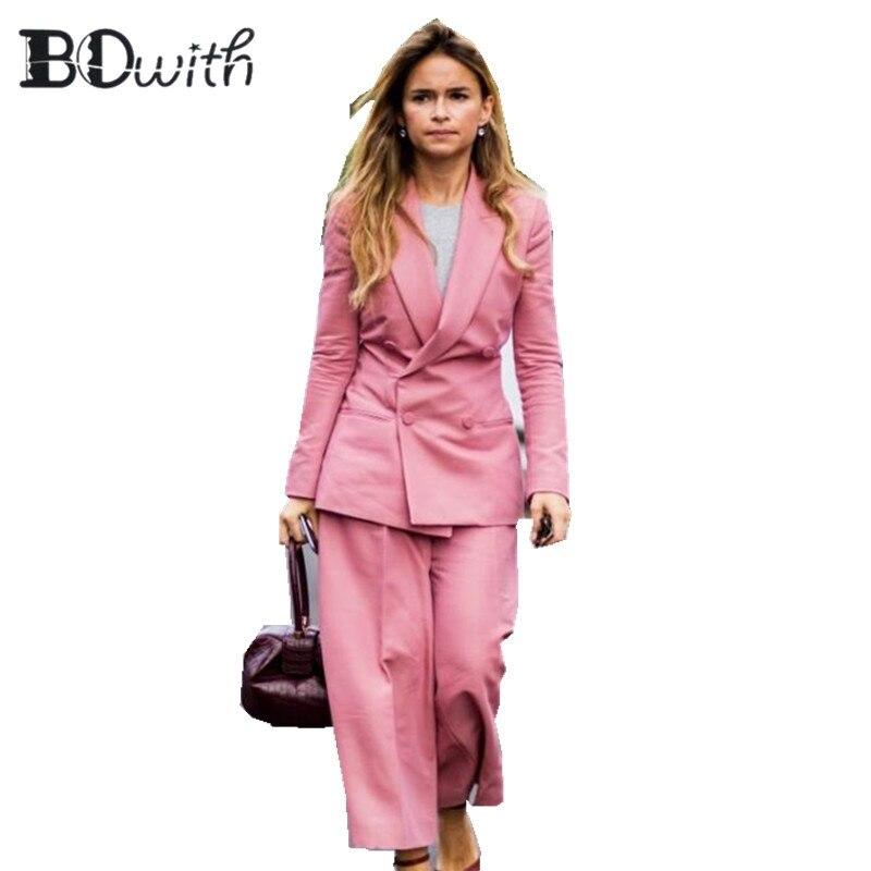 Custom Made Pink 2 Piece Set (Jacket+Vest) Women Elegant Pants Suits Ladies Business Pant Suits Formal Office Suits