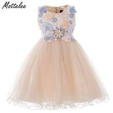 Платье для девочек с 3d цветами детское бальное платье на свадьбу