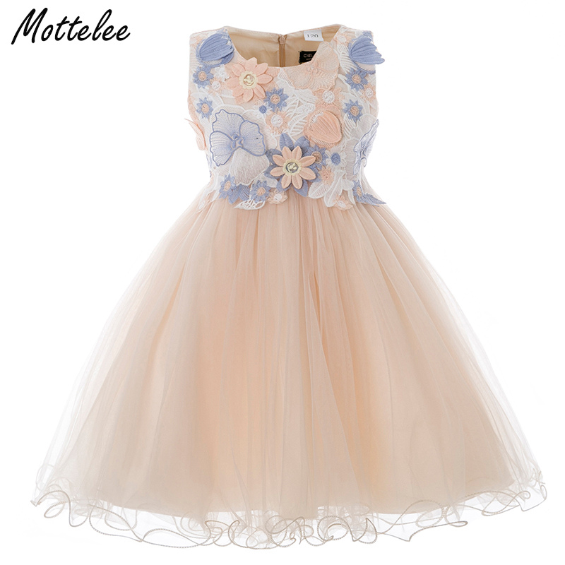 Girls Dress 3D Flower Children Wedding Party Ball Gown Butterfly Baby Girl Prom Dresses Princess Kids Birthday Frocks for Girl kids girls flower dress baby girl long sleeve birthday party dresses children girls princess ball gown wedding clothes