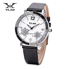 VILAM Women Quartz Watch 5ATM Artificial Diamond Petal Pattern Dial Wristwatch Female Quartz Watch Women's Brand Watches 9888