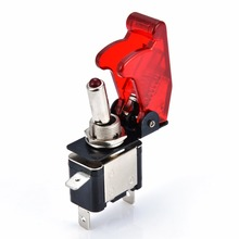 Mayitr 1pc Miniature Electric Toggle Switches 12V 20A ON/OFF Light Rocker Switch & Red Cover For Racing Car Vehicle Fog Lamps
