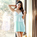 Sexy Lace accessory Sleepshirts Women Blue Gown Dress Women Nightgown Robe Set Sexy Sleeping Dresses Women's Fashion Sleepwear