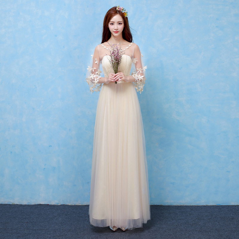 champagne bridesmaid dresses long for wedding guests sister party formal dress plus size dress prom dresses real photo rom80100