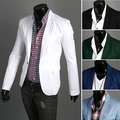 2014 men's spring clothing black casual 100% cotton suit plus size male slim outerwear white suit