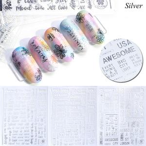 Image 3 - 1pcs Alphabet 3D Nail Sticker Decals Black White Silver Letter Sliders Manicure Decoration Adhesive Nail Art Tips JICB122 124