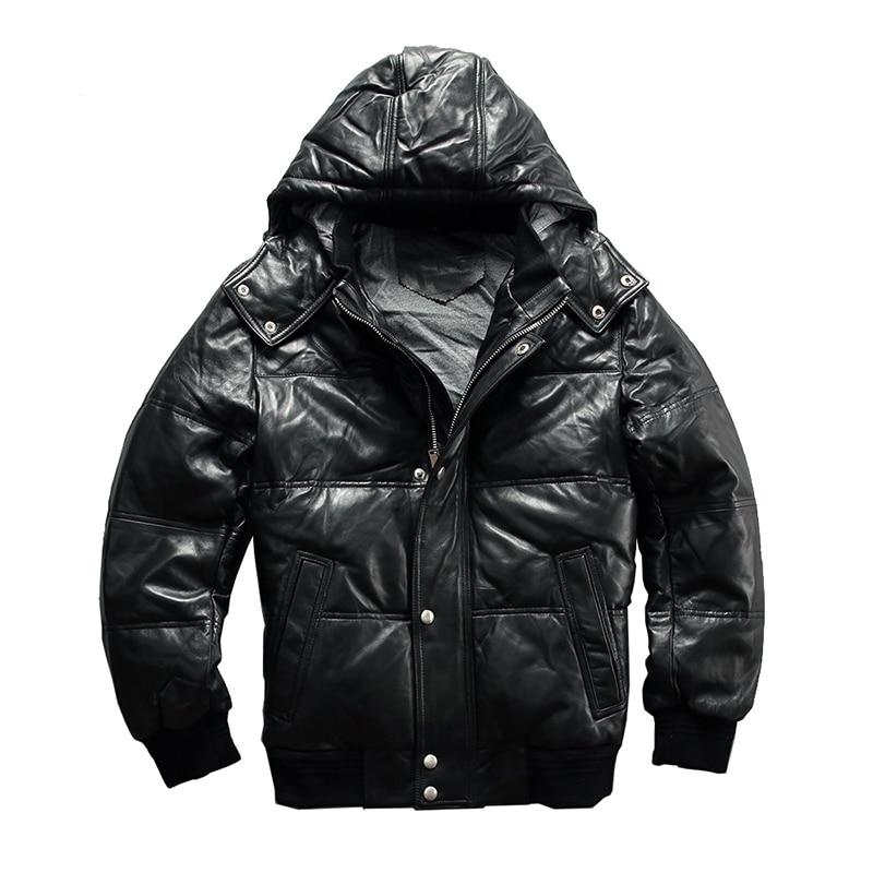 Coat Harley Damson Down-Jacket Sheepskin Hood Russian Winter Genuine Casual 4XL Short