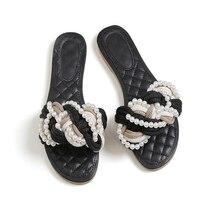Koovan Dames Pantoufles 2017 Nouveau Style De Mode Avec Perle Plat Chaussures Dames D'été Plat Avec Femme Plage De Mode Sandales Tissé