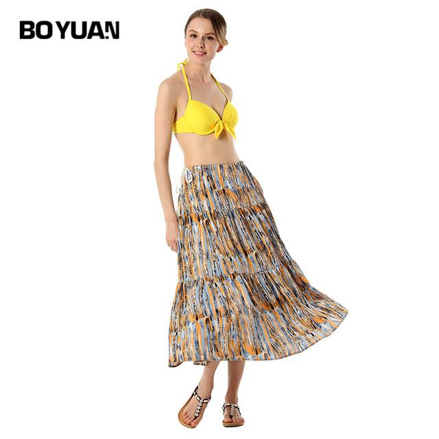 boyuan Spaghetti Strap Bohemian Dress 2017 Summer Dress Chiffon Print Backless Sexy Beach Dresses Women Sleeveless One Size B667