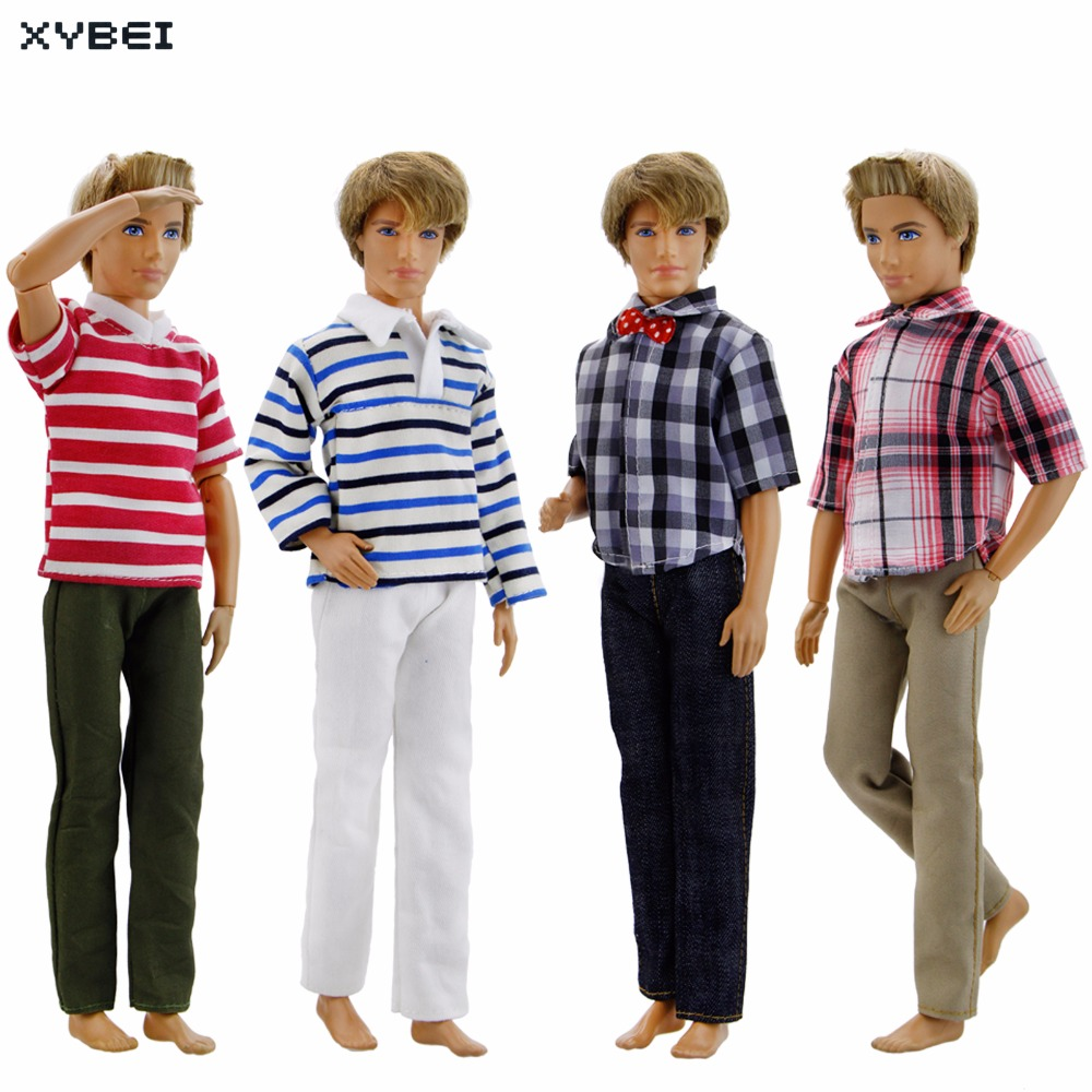 4 Pcs/Set Fashion Outfit Daily Casual Wear Prince Suit Mixed Style Shirt Trousers Clothes For Barbie Doll Friend Ken Accessories new 20 pcs set handmade party 12 clothes fashion mixed style dress 8 pair accessories shoes for barbie doll best gift girl toy