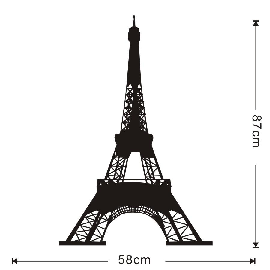 Removable Landmark Eiffel Tower Wall Sticker 3D Art Design