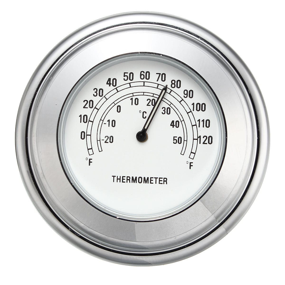 Universal 7 8'' 1'' motorcycle handlebar white dial clock temp thermometer for harley chopper cruiser waterproof in instruments from automobiles