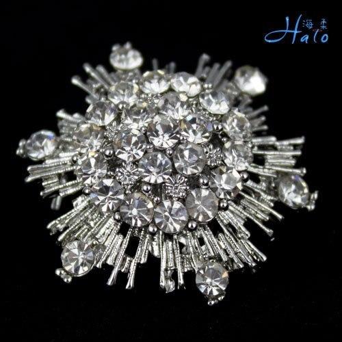 P168-427 Free Shipping 10PC/lot cheap metal brooch silver rhinestone jewelry