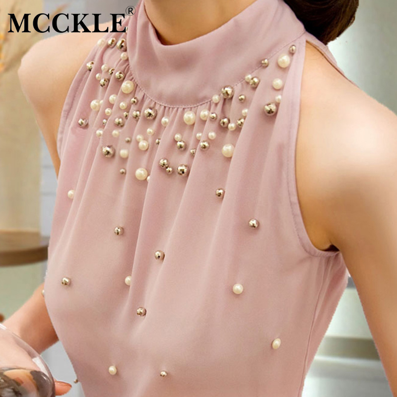 MCCKLE Womens Beading Chiffon Sleeveless Blouse Korean Fashion Women Turtleneck Tops 2018 Summer Halter Feminine Bloues Clothes ...