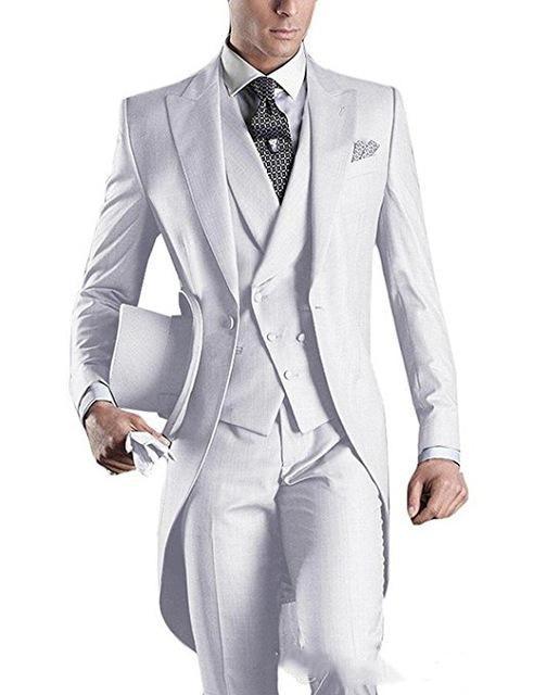 Men Suit Blue-tailcoat-men-party-groomsmen-suits-in-wedding-tuxedos(jacket+pants+tie+vest)terno Masculino Costume Homme Mariage