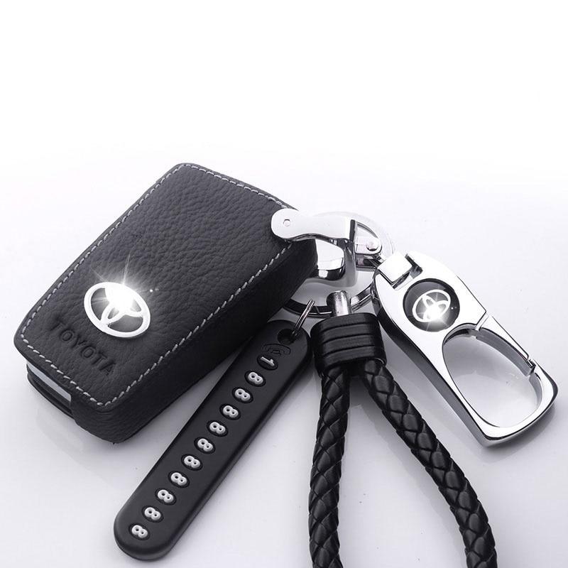 2019 пояса из натуральной кожи ключ чехол для Toyota RV4Camry/Corolla/Crown/Prado/Cruiser стайлинга автомобилей Camry