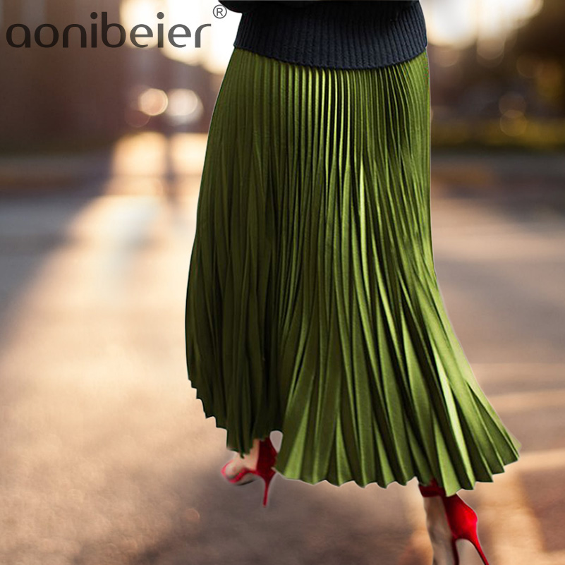 Skirts Women Spring Autumn Summer Style Women's High Waist Pleated Fashion Solid Girl Half Length Skirt Breathble Ankle Length