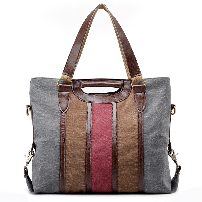 Two Size Bolsas Feminine Striped Canvas Women Handbags Vintage Large Capacity Leisure Ladies Tote Bag Casual Girls Shoulder Bags