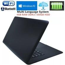 14.1 Inch PC Laptop Computer Intel Pentium N3520 Quad Core 2.16GHz 4GB RAM DDR3+500GB HDD Windows7/10 Notebook Wifi HDMI USB 3.0