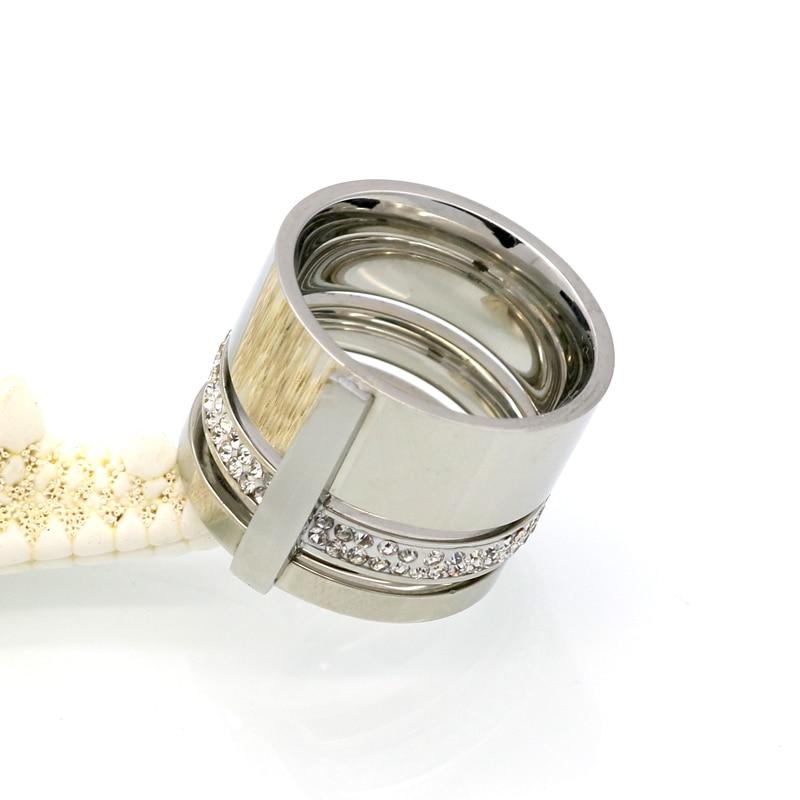 Złoty Kolor Cyrkon Kryształ Tytanu Pierścienie Ze Stali - Modna biżuteria - Zdjęcie 4