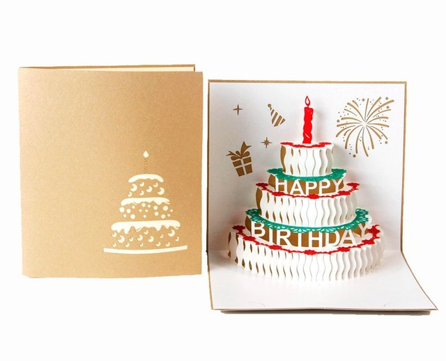 Ynaayu 1pcs 3d Happy Birthday Cakes Card Greeting Cards Handmade