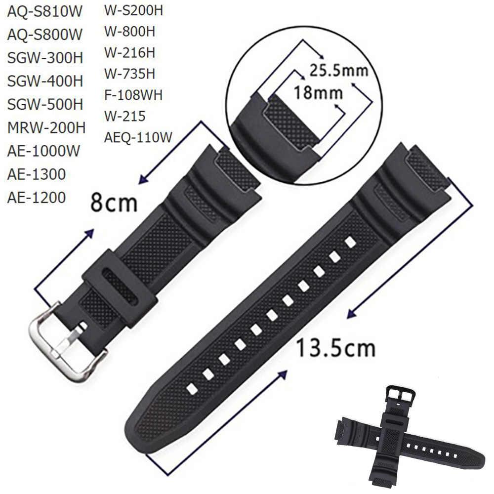 גומי רצועת עבור Casio AE-1000w AQ-S810W SGW-400H/SGW-300H סיליקון רצועת השעון פין אבזם רצועת שעון יד צמיד שחור