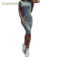 CHAMSGEND Drop Shipping 2017 New Fashion Women Cotton Blend Casual Sexy Solid Short Sleeve Sheath Slim Mid-Calf Dress JUN20(China)