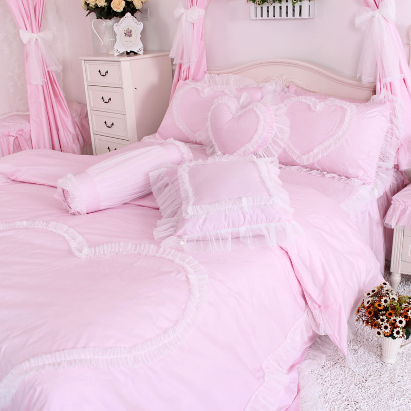 High quality girl bed textile products 100% cotton bedding set Pink Princess quilt cover pillows bed skirts bundling sales