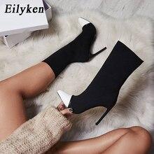Eilyken 2020 nova arriva tecido elástico botas de tornozelo feminino dedo do pé apontado saltos altos deslizamento on sexy meias calcanhares chelsea botas size35  42