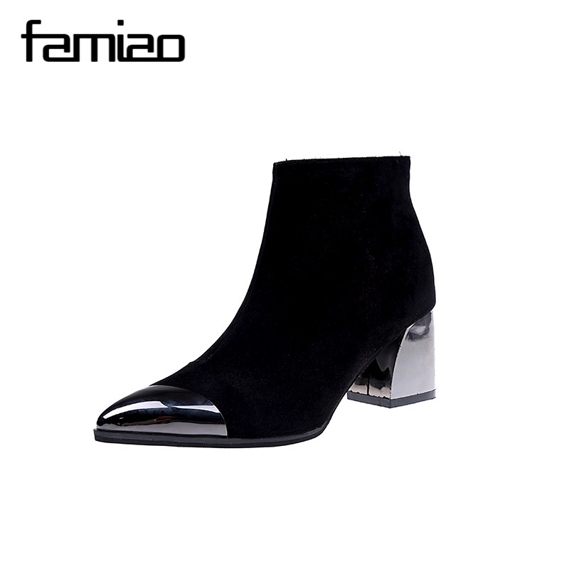 FAMIAO Metal decoration women boots 2017 sexy black shoes pointed toe square heel high spring shoes work zip zapatos mujer fashion pointed toe lace up mens shoes western cowboy boots big yards 46 metal decoration