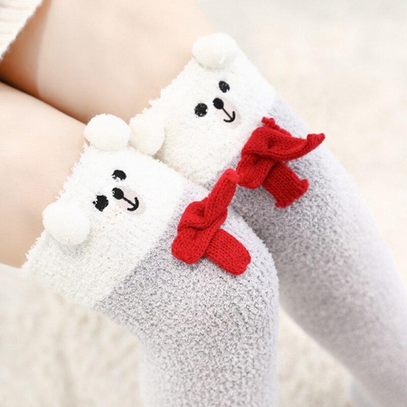 Sale 2018 New Japanese Girl Animal Printed Knee Socks Girls Striped Cute Kawaii Long Thigh High Socks Winter Women Warm Sock