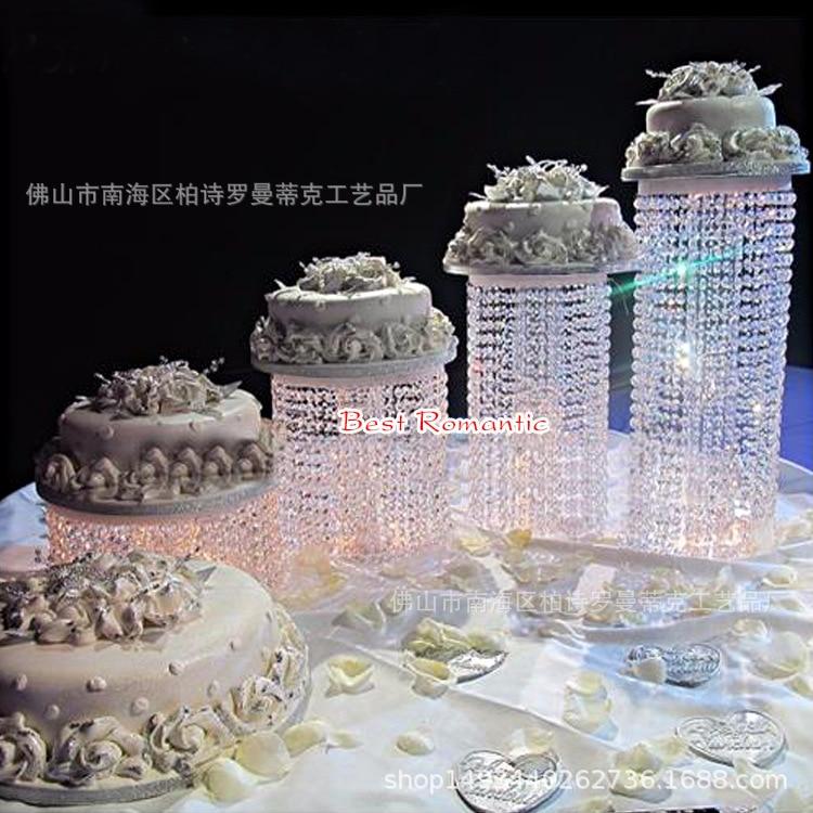 4pcs set Crystal wedding cake stand Wedding centerpiece Wedding Cake Display