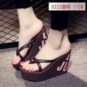 Image 3 - Estate belle signore super high tacco alto piattaforma flip flops11cm scarpe da spiaggia pantofole pantofole di nozze scarpe da donna di lusso