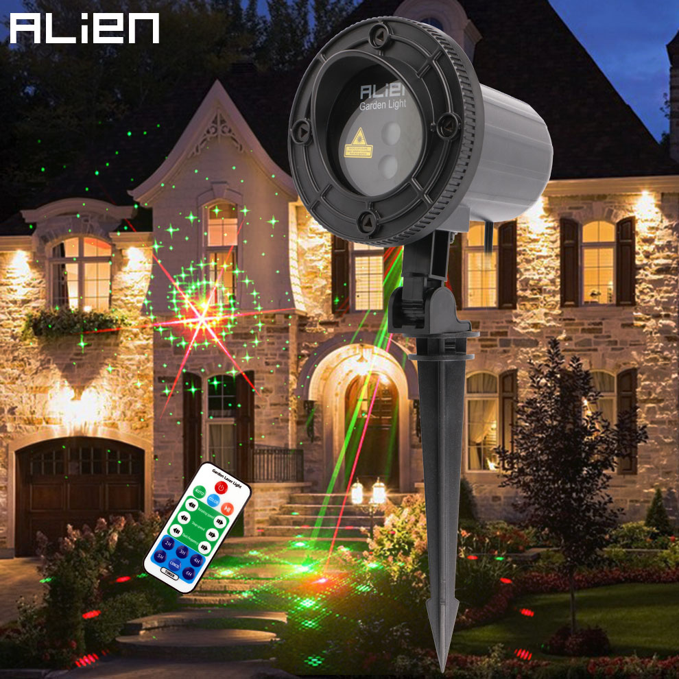 цены на ALIEN Red Green 12 Patterns Christmas Motion Garden Waterproof Laser Light Outdoor Xmas Tree Holiday Effect Lighting With Remote в интернет-магазинах