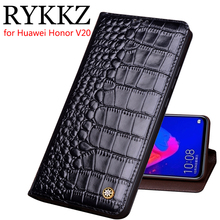 RYKKZ Genuine Leather Flip Case For Huawei Honor V20 Cover Magnetic case Cases Phone Fundas