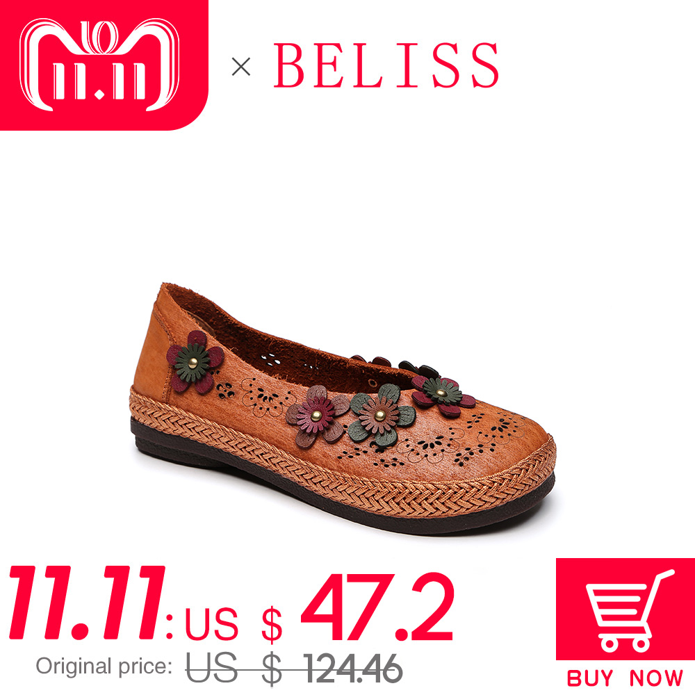 BELISS women flats genuine leather shoes woman slip on loafers woman round toe hollow causal flats shoes ladies handmade P9 2018 vintage style designer women flats genuine leather round toe bow slip on loafers comfortable handmade shoes woman big size