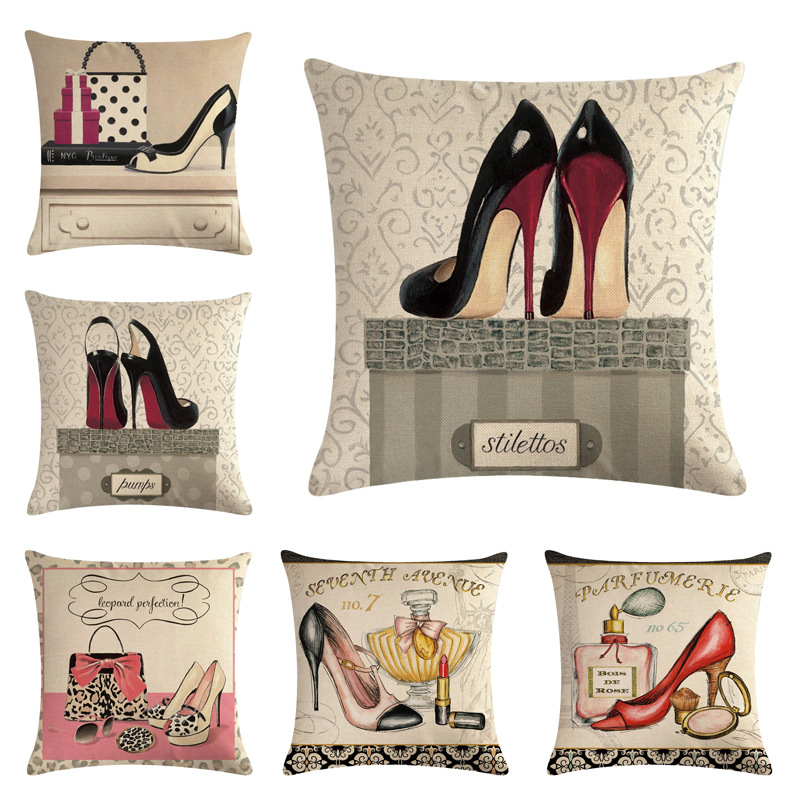 Perfume Bag Decorative Cushion Cover Cotton Linen Square Throw Pillow Cover 45x45CM Pillow Case Home Office Car Sofa Decor