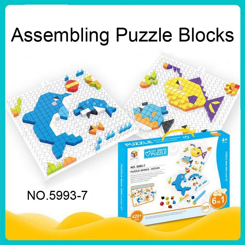 DOLLRYGA 3D Building Blocks Bricks Jigsaw Toy Animal Transportation DIY Creative Bricks Bulk Model Figures Educational Kids Toys