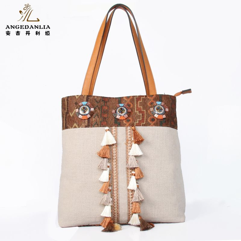 Designer fashion wayuu mochila Bucket Bag women Tassel handbags fabric beading messenger Cotton Fabric Bag crossbody bag funky fashion designer