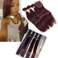 Red Brazilian Hair 3 Bundles With Closure Ombre Brazilian Hair Closure Queen Weave 99J Straight Hair With Closure Peerless Hair