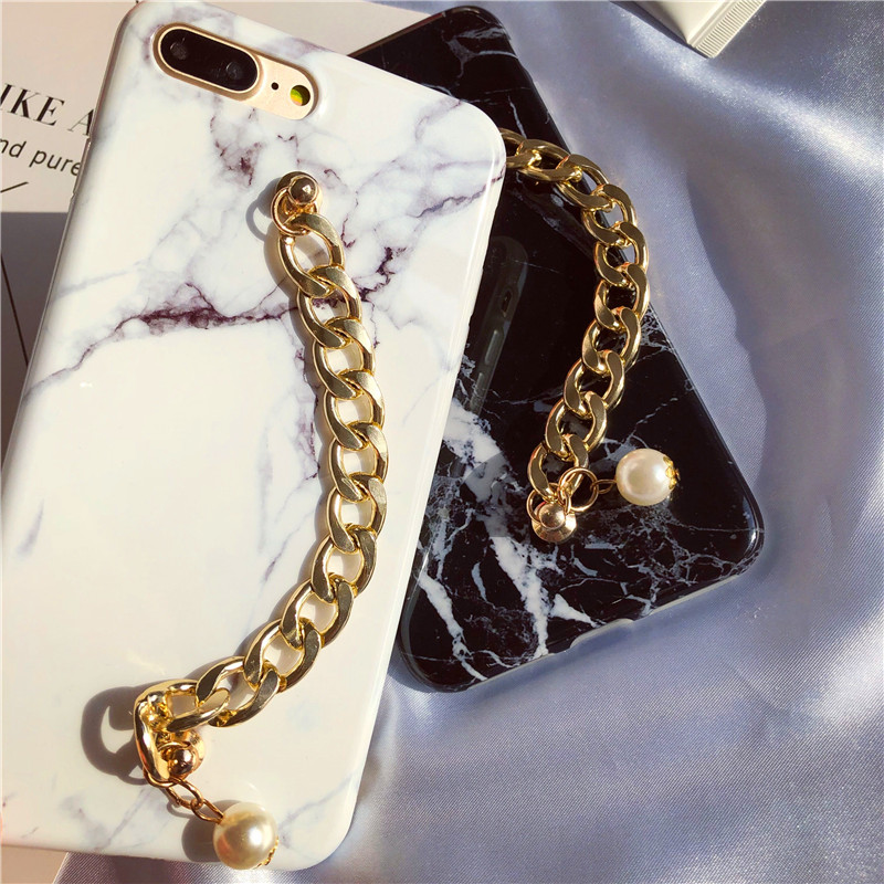 LUDI New Marble Case for iPhone X 8 7 7plus Pearl Gold Chain Wrest Strap Fundas for iPhone6plus 6 6s 8 plus Slim Cover for girl 2
