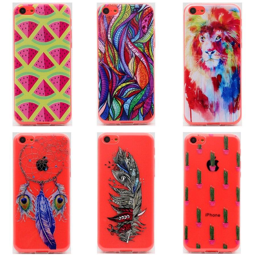 ТПУ Мягкая силиконовая Чехол для iPhone 5C Чехол прозрачный Мода цветной  рисунок Телефонные Чехлы для Apple iphone5C 4.0 дюйма 9078c906130