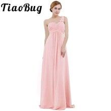 Pembe kadın şifon nedime elbise yüksek bel kat uzunluk bir omuz pilili dantel düğün parti gelinlik modelleri balo elbisesi