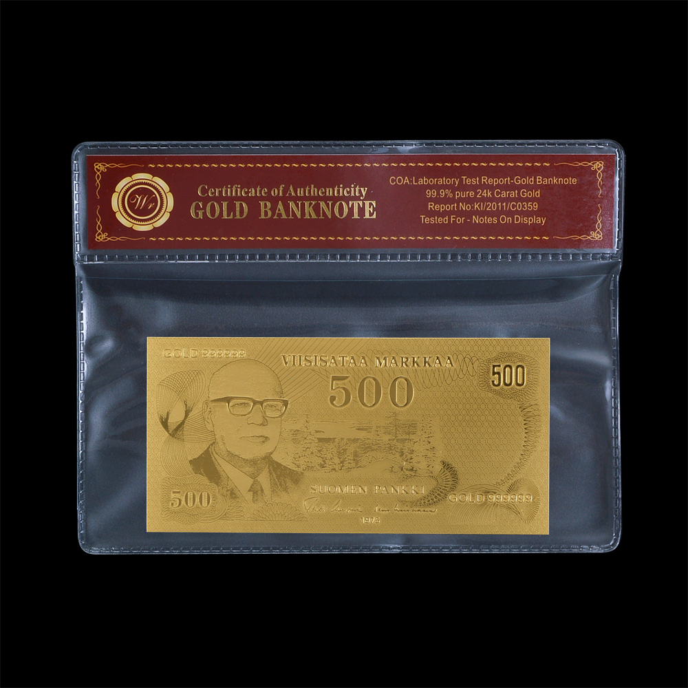 WR Finland 500 Gold Banknote Plated Gold Bill Note With Coa