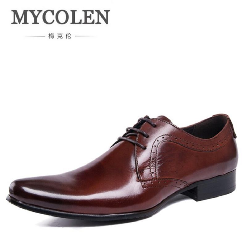 MYCOLEN Formal Shoes Pointed Toe Business Wedding Brown Genuine Leather Oxford Shoes For Men Dress Shoes Chaussure Homme Cuir mycolen men s shoe man lace up genuine leather formal shoes cowhide british fashion business dress shoes chaussure homme cuir