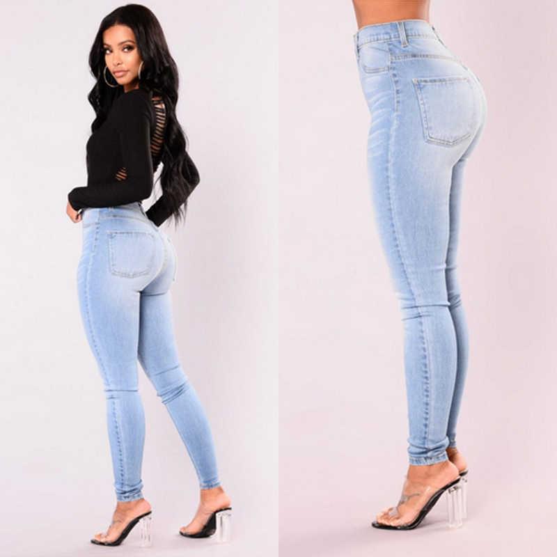 88ce89c346d Itfabs новейшие модные Для женщин женские джинсовые узкие брюки Высокая  Талия Джинсы-стретч Slim зауженные