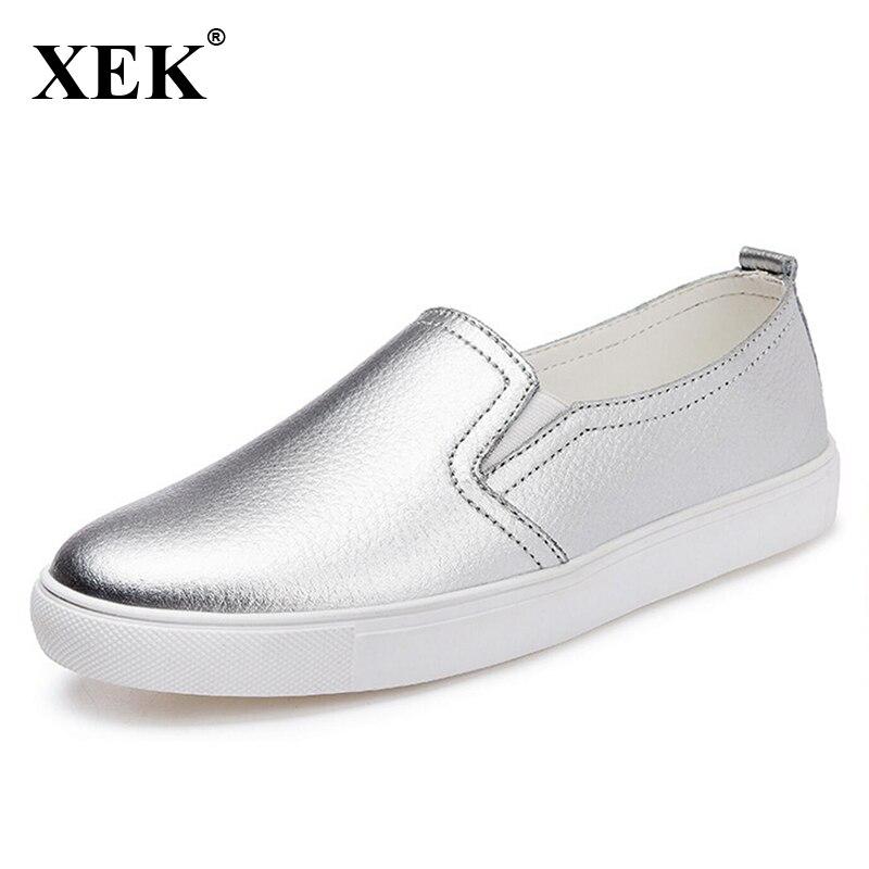 2017 Femenino Zapatos Mujer Mujeres Mocasines Calidad Slip Ocasionales Xc11 Alta Verano white Black silver Cuero Planos De On Nueva Slipony r6xvnBEPqr