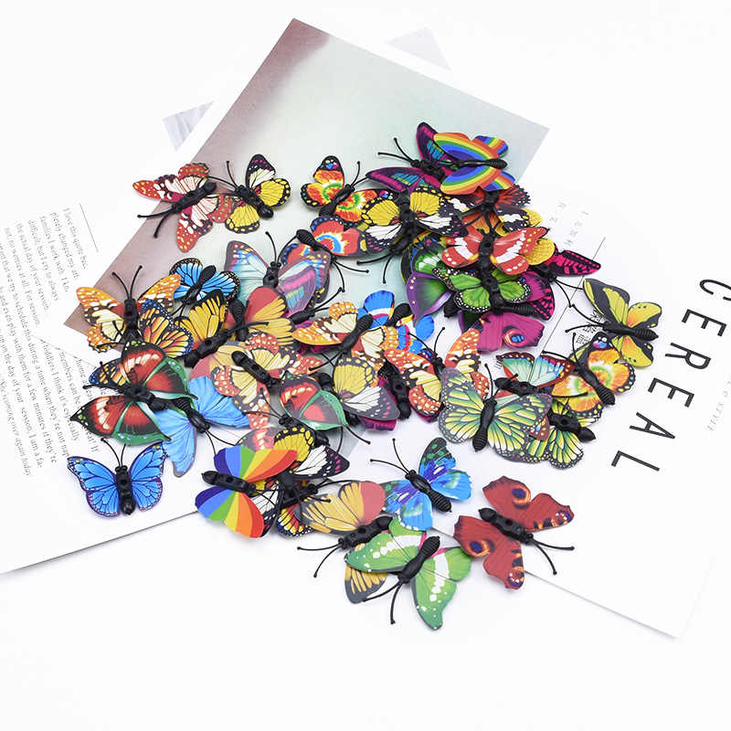 20 adet 3D plastik kelebek dekoratif çiçekler çelenkler diy hediye kutusu buzdolabı mıknatısı scrapbooking dikiş gelin aksesuarları