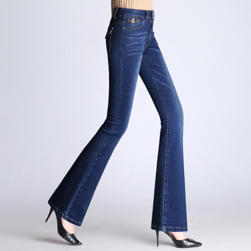 2018 Flare   Jeans   Women's High Waist Boot Cut   Jeans   Fashion Autumn Denim Flares Pants Bell Bottom Trousers r272