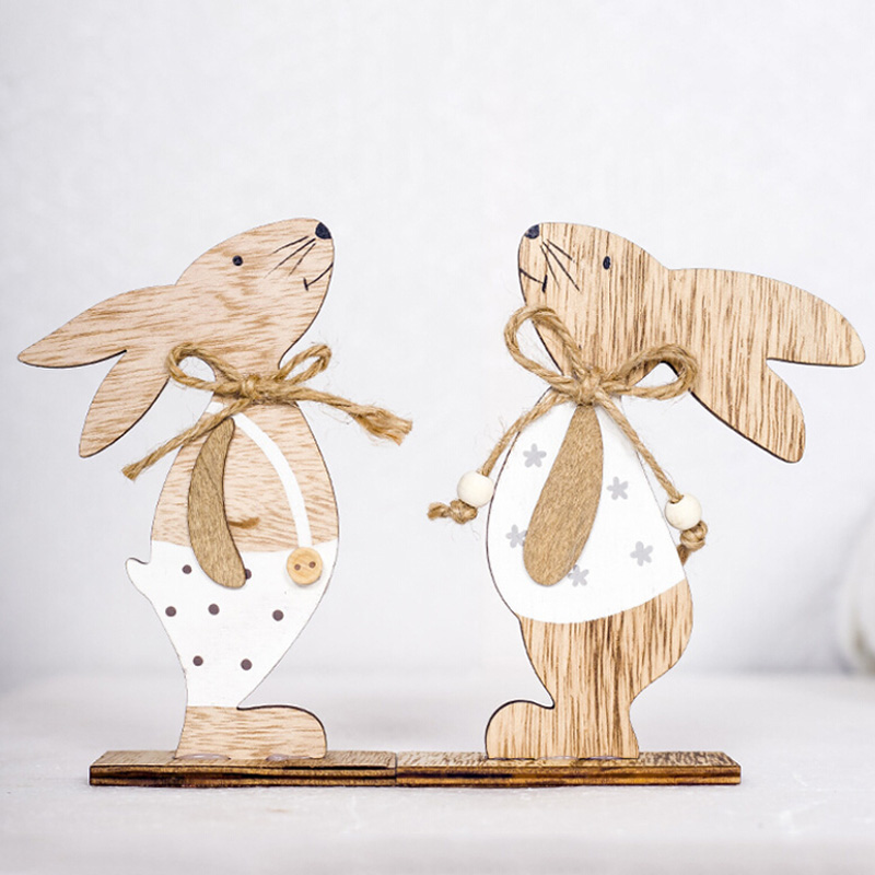 2020 Easter Decoration Wood Easter Rabbit 3 Types With Easter Egg Ribbon Stand Decoration DIY Ornament Zakka Party Supply